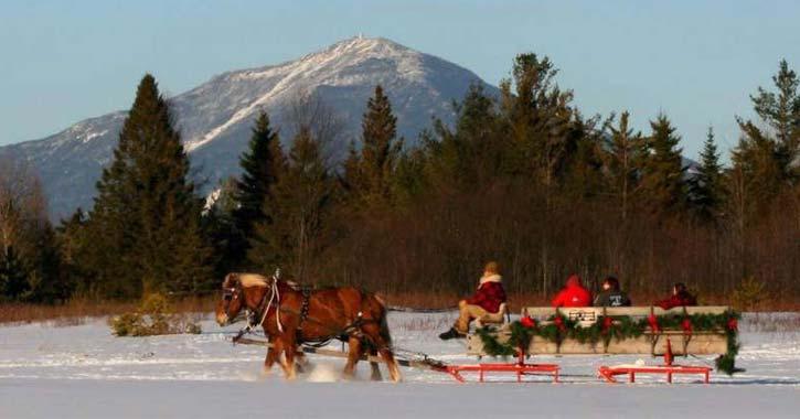 sleigh ride mountain snow
