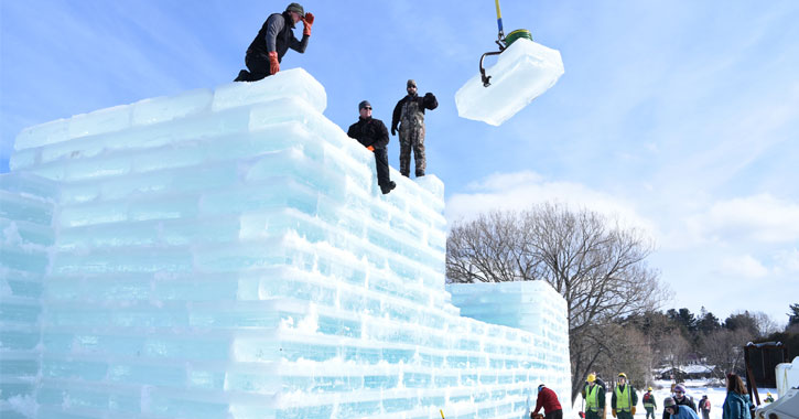 the ice palace being constructed