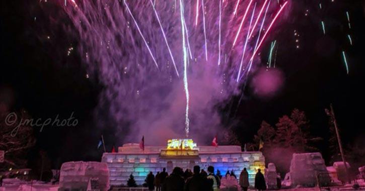 purple fireworks at ice palace