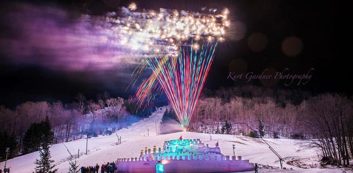 fireworks display over an ice castle