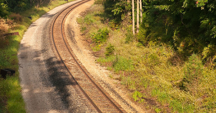 a curve in a railroad