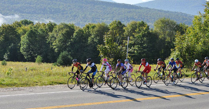 row of bicyclists