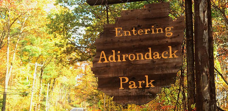 adirondack park sign in fall