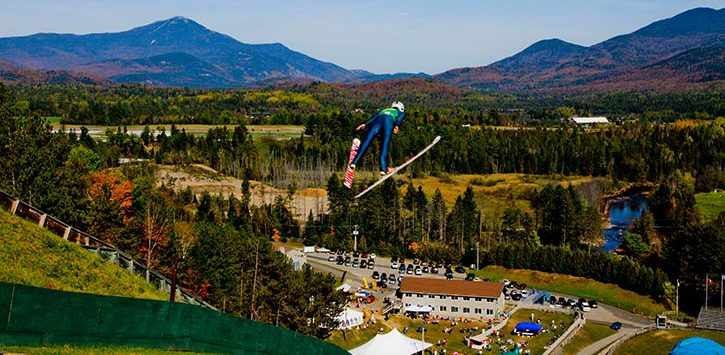 ski jump in the fall