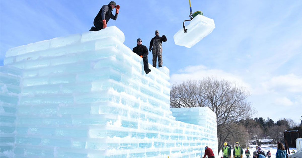 ice palace being constructed