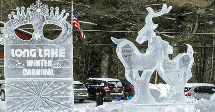 ice sculpture saying Long Lake Winter Carnival
