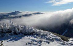 fog over snowy mountain