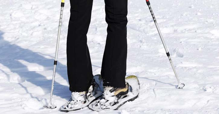 close up of person snowshoeing