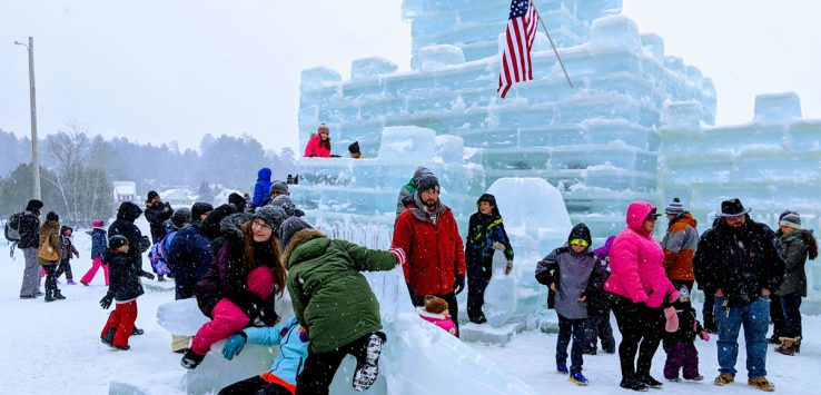people having fun at the ice palace