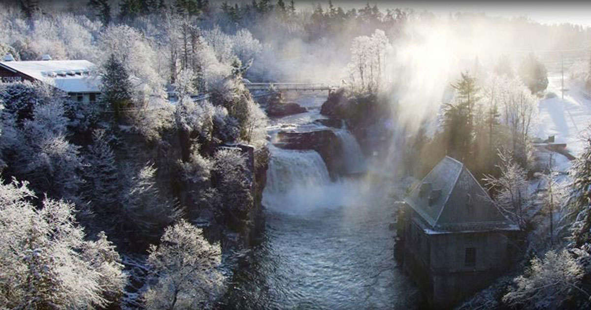 a winter waterfall