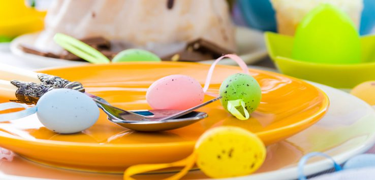 Easter eggs on plate