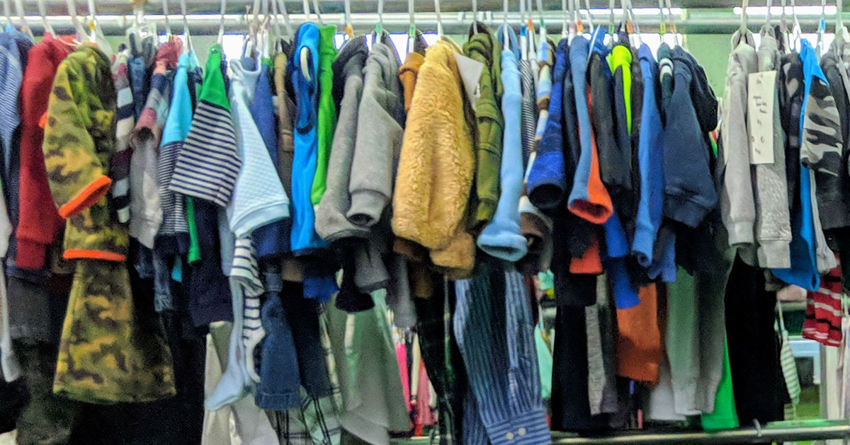 kids clothes on a rack