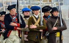 soldiers in period uniform