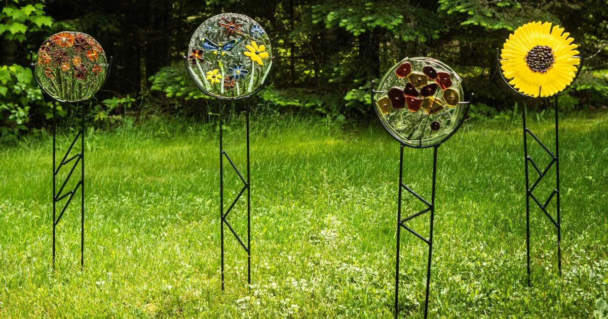 four lawn ornaments