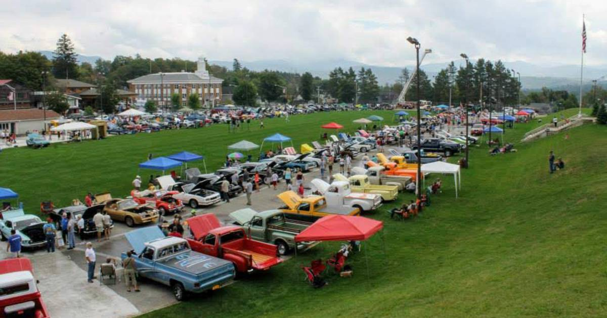 aerial view of car show lineup