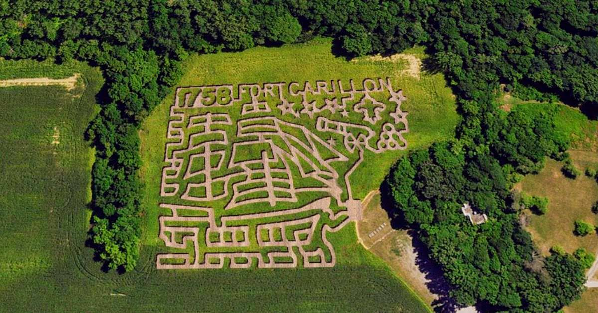 aerial view of Fort Ticonderoga's corn maze