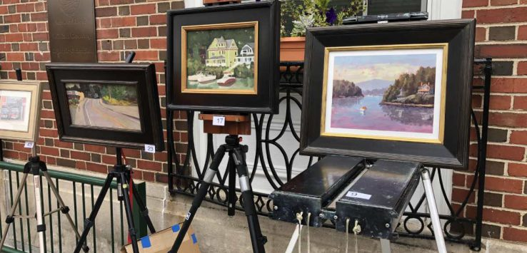 paintings on easels