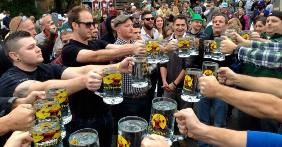 stein hoisting at the adirondack brewery oktoberfest