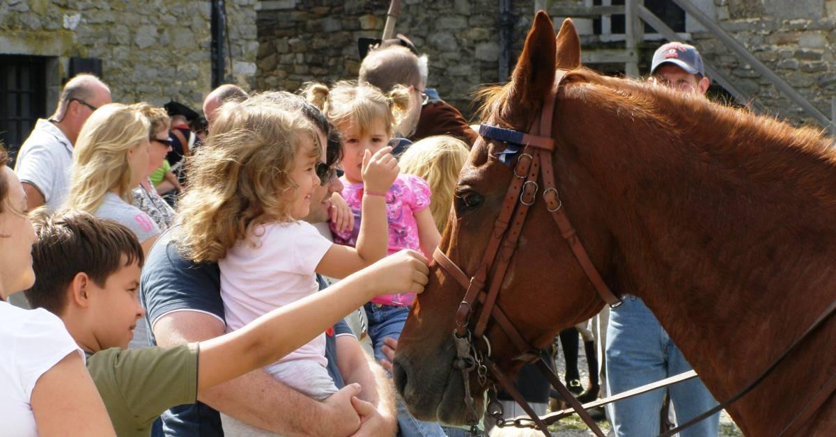 children petting a horse at fort ticonderoga