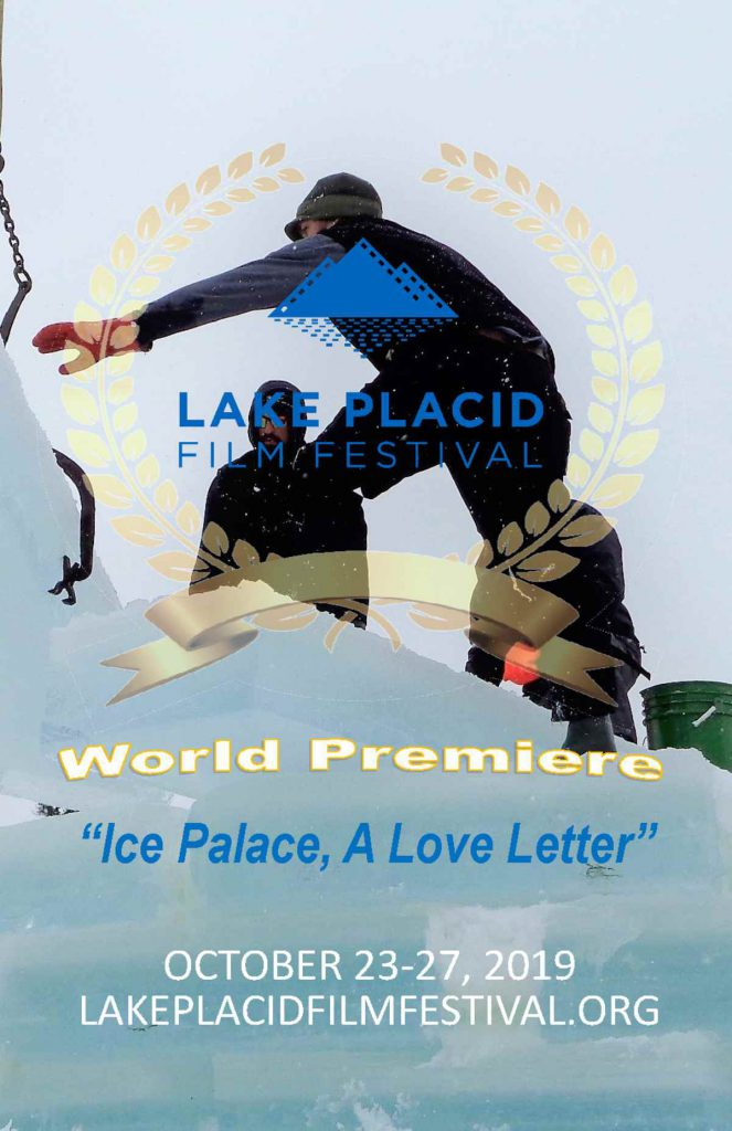 a poster for the movie's premiere, picturing people building the ice palace