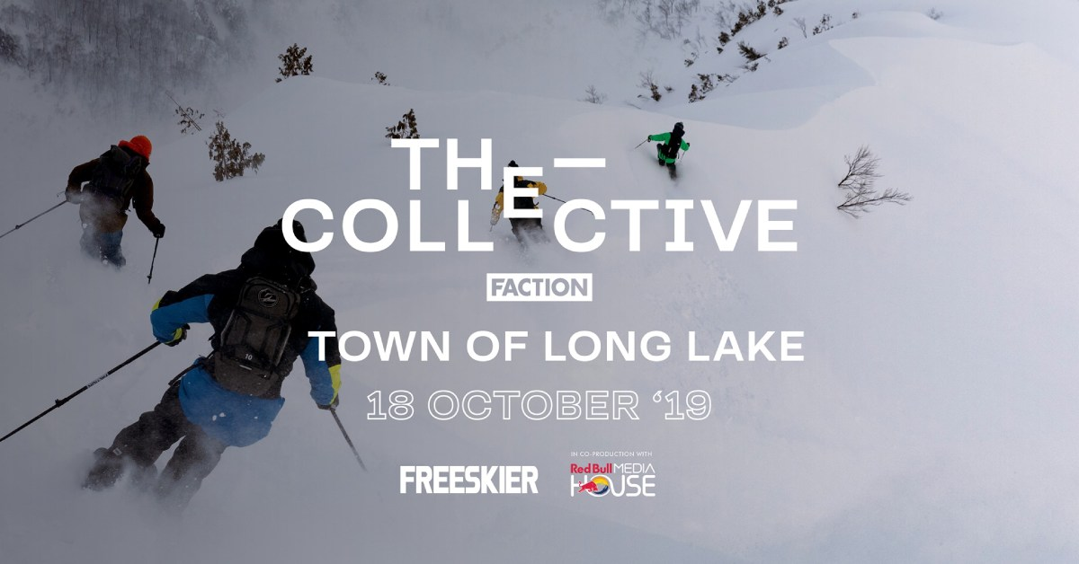promotional image for the collective film with skiers on a slope