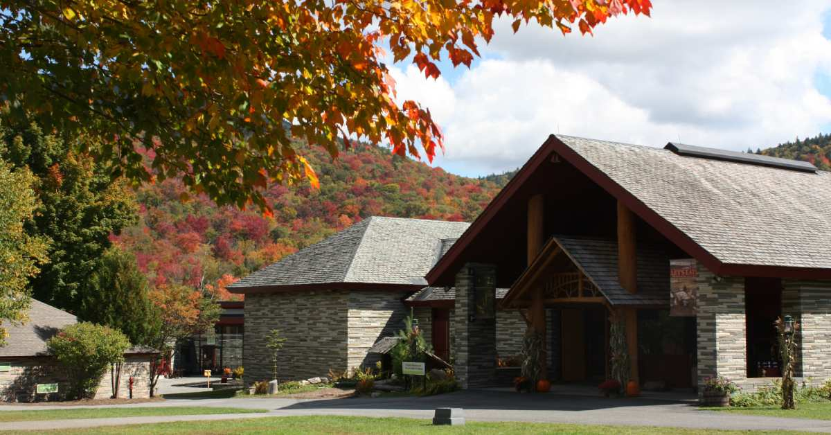 entrance of adirondack experience in the fall