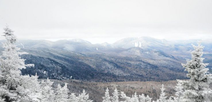 a view of snowy adirondack mountains