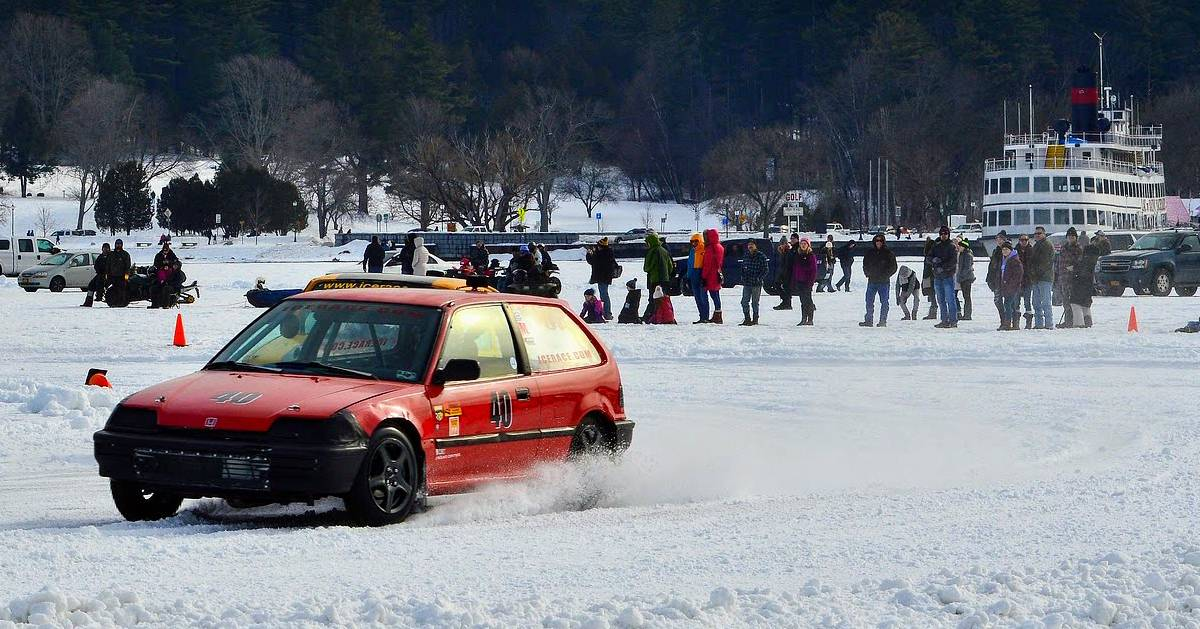 car on ice at carnival