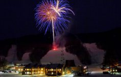 fireworks over a mountain