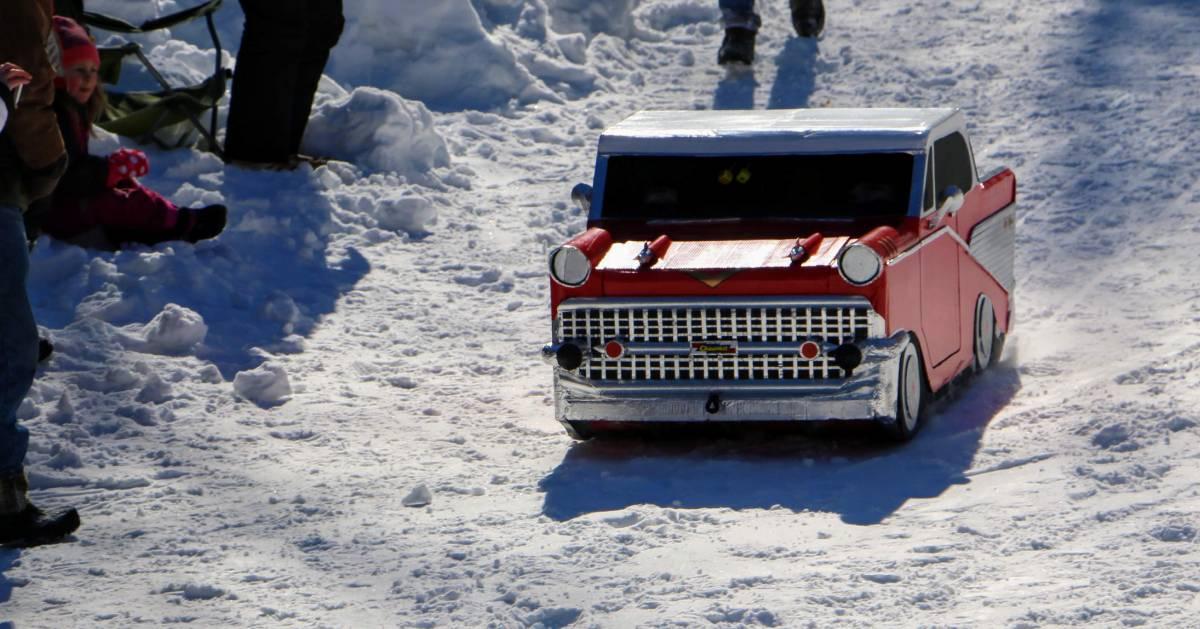 cardboard sled that looks like a car