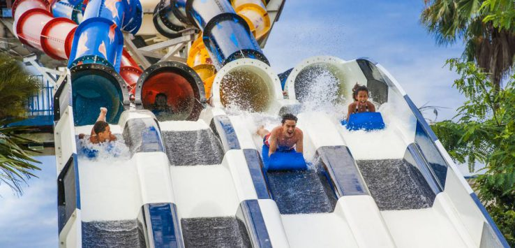 people on massive water slide