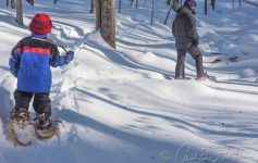 person and kid snowshoeing