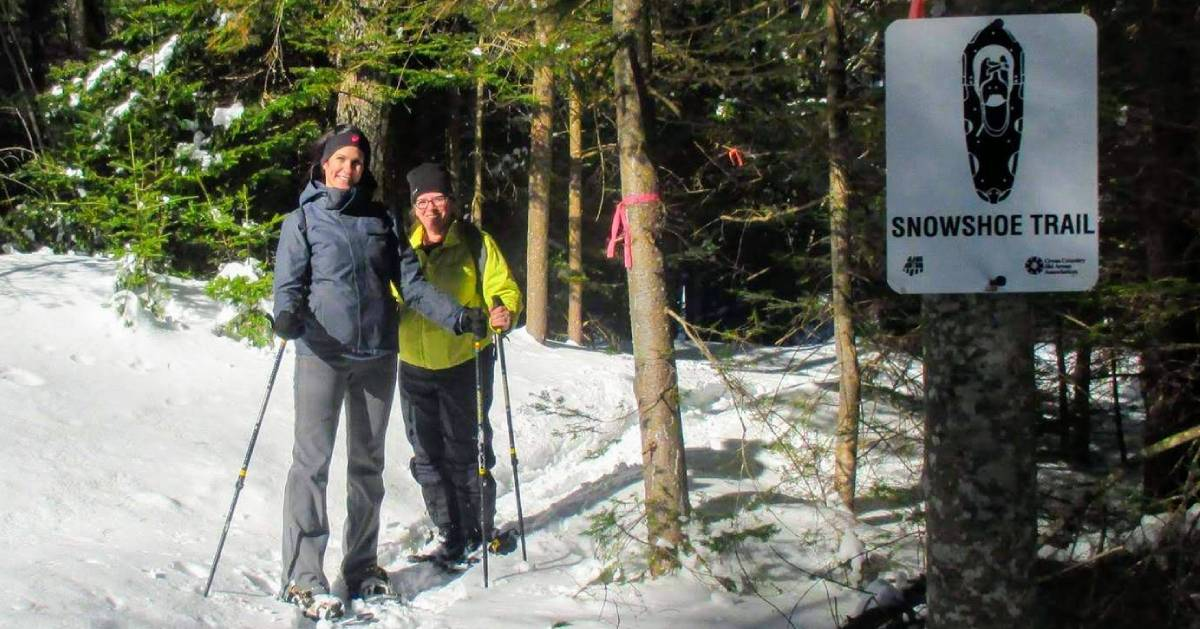 couple on a snowshoe trail