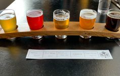 flight of five beers from big slide brewery