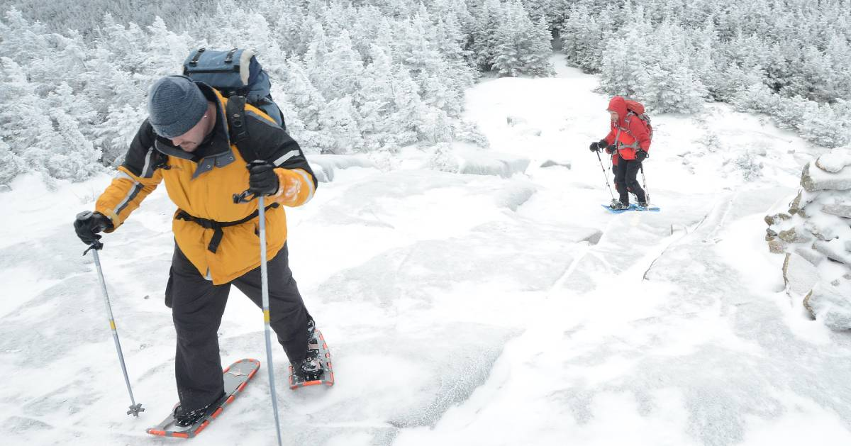 two winter hikers