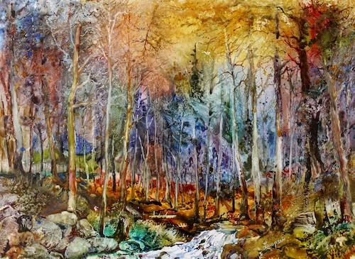watercolor of woods