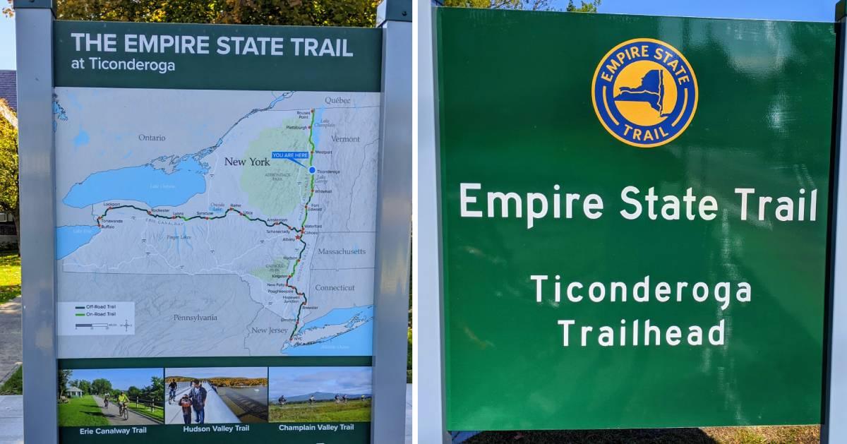 split image of Empire State Trail signs in Ticonderoga