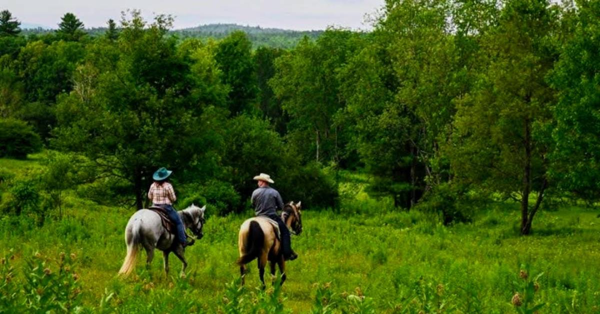 couple horseback riding