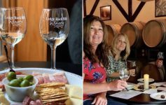 split image with wine and food plate on left and group of people at winery on the right