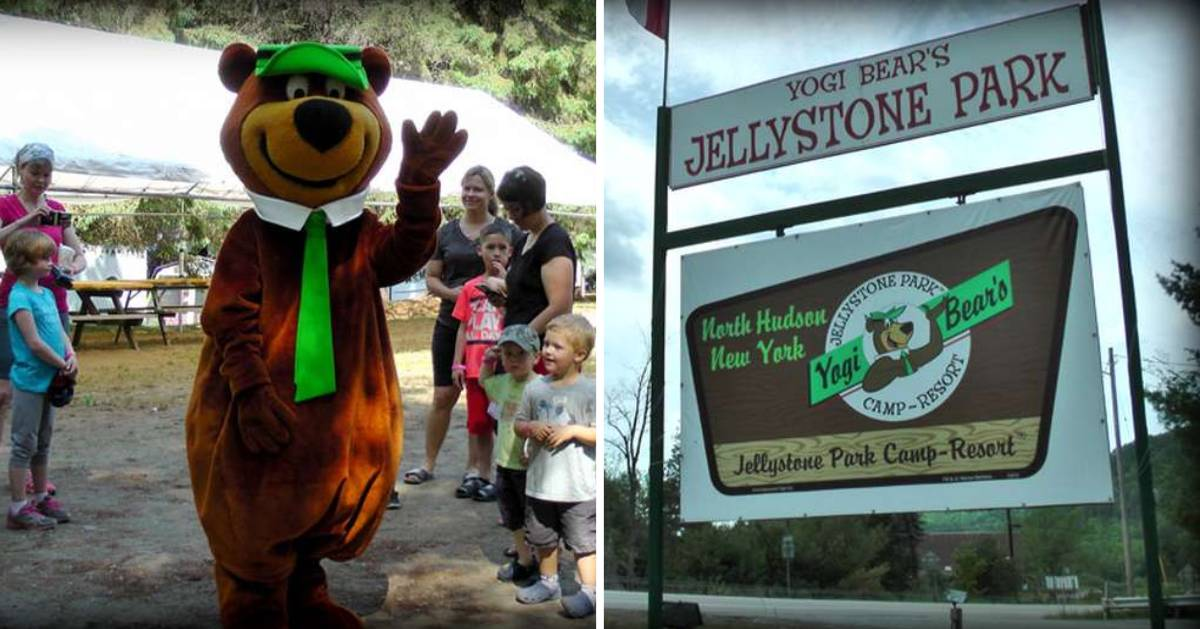 split image with Yogi bear and kids on left and Yogi bear Jellystone Park sign on the right