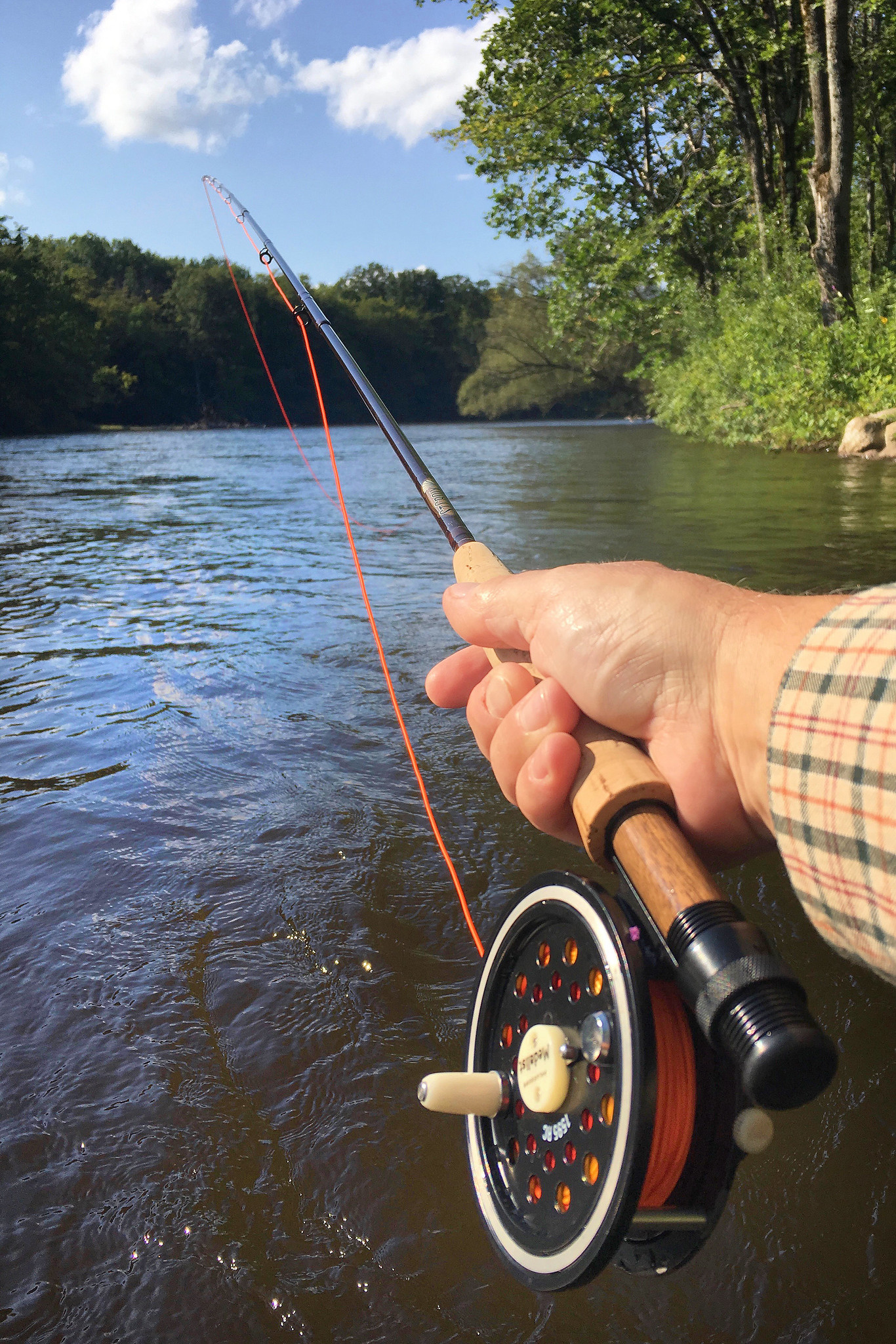hand of someone fly fishing