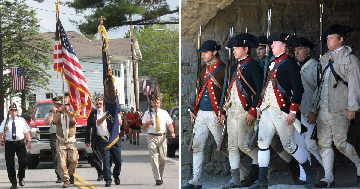 split image of parade and soldiers