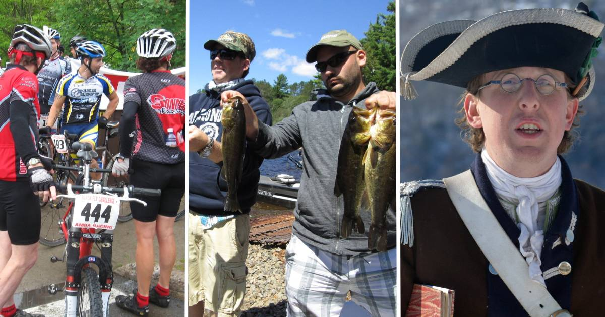 image split in three of bikers, anglers, and a history reenactor