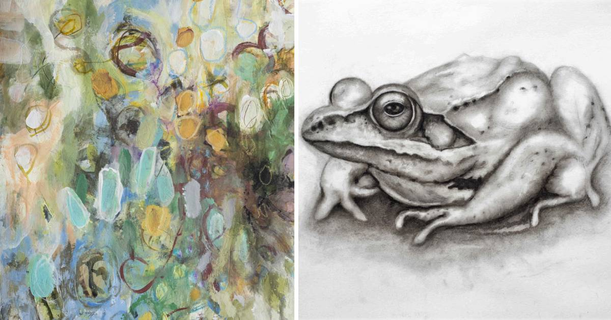 split image with abstract painting on the left and black and white drawing of a frog on the right