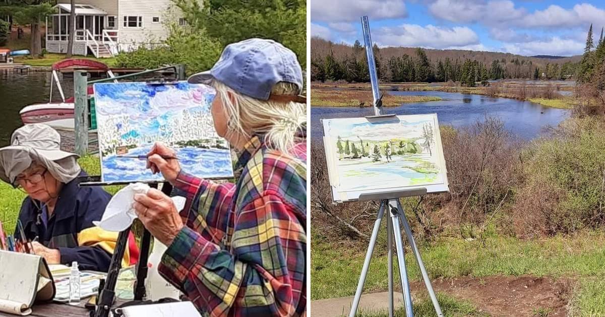 split image of people painting outdoors and a painting outdoors