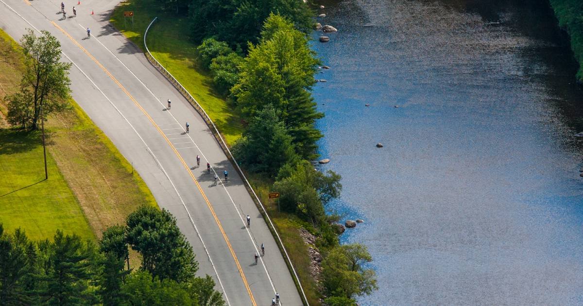 aerial view of bike riders