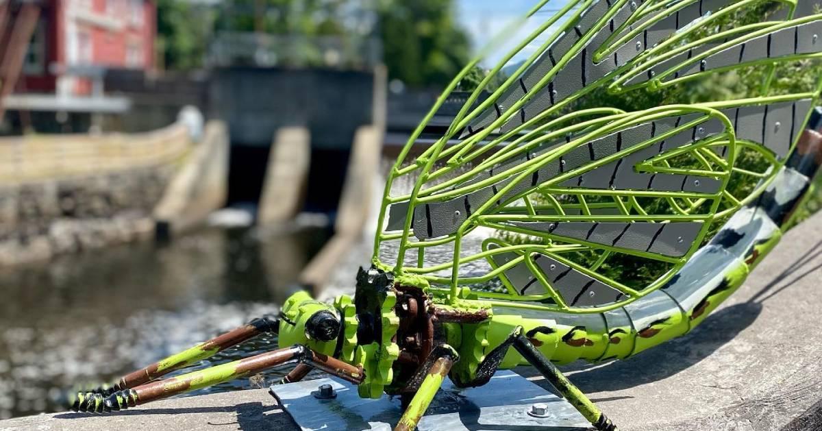green bug statue