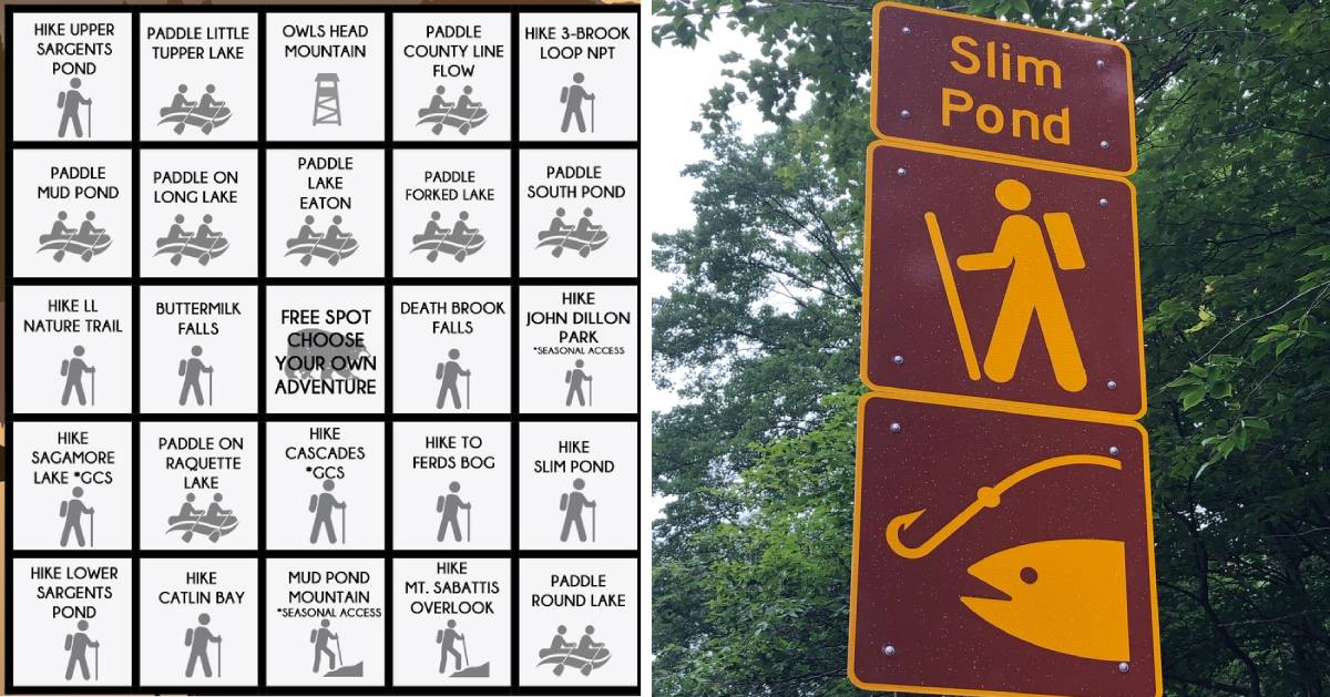 split image with hiking challenge bingo card on the left and trailhead sign on the right