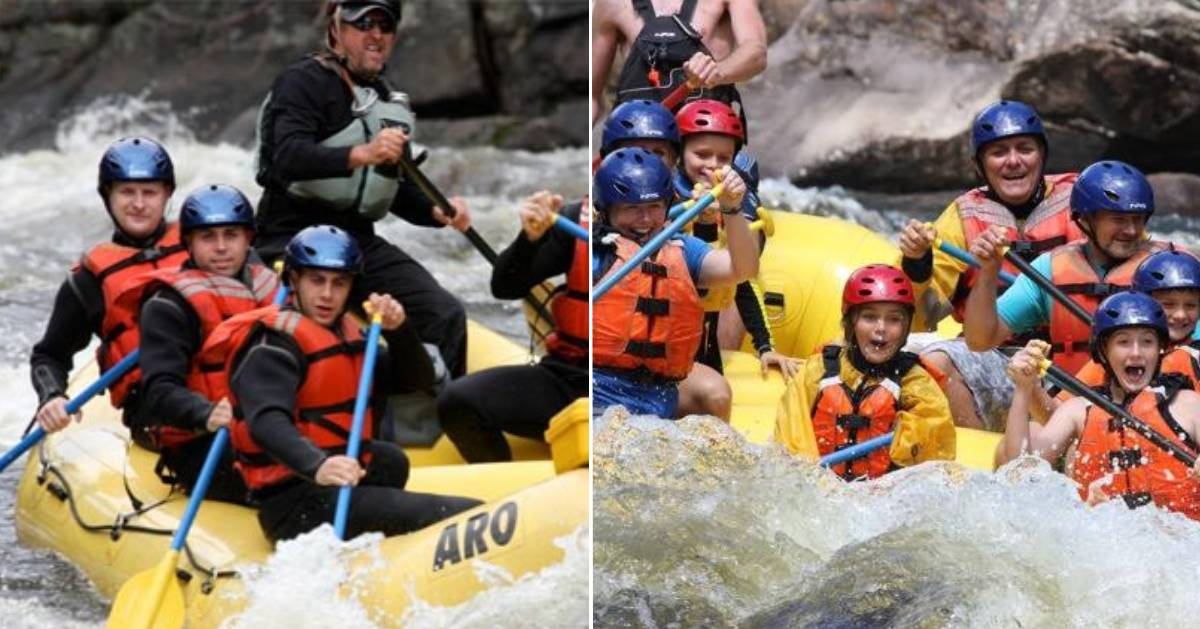 split image of whitewater rafters on either side