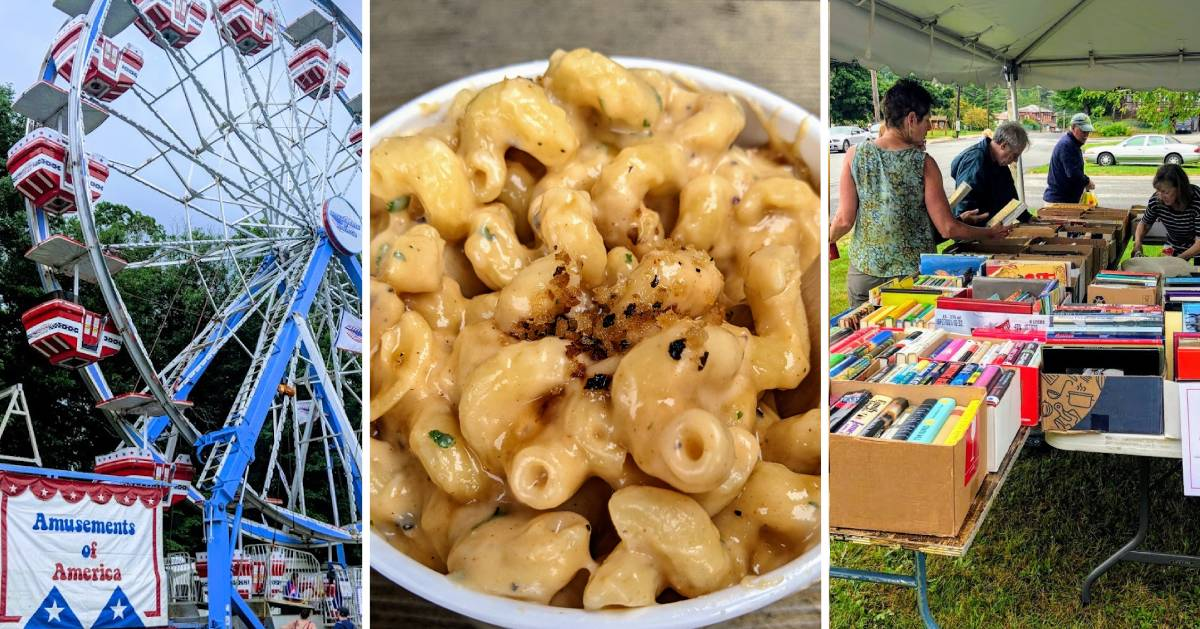 image split in three of ferris wheel, mac and cheese, and book fair